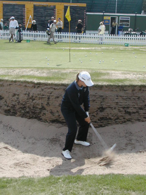 Annika practicing bunker shots 2003
